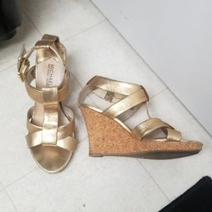 Gold MICHAEL KORS leather strappy wedge sandals